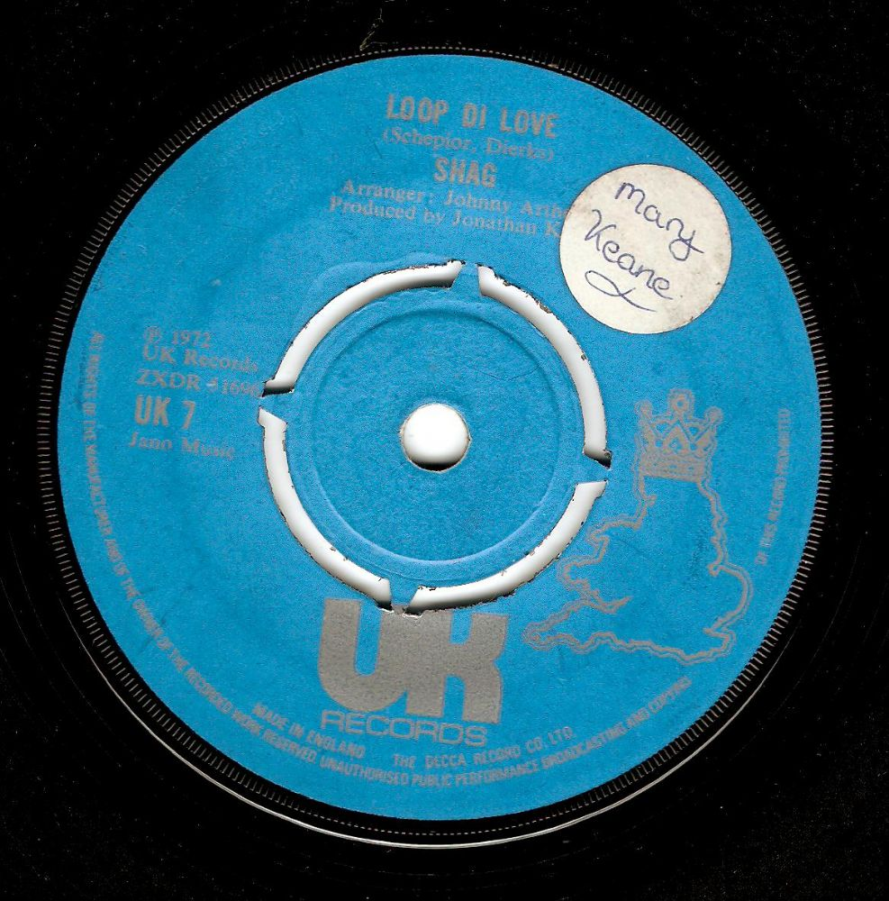 SHAG Loop Di Love Vinyl Record 7 Inch UK 1972.